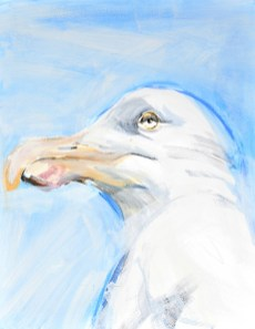 Seagull, blue sky | acrylic on canvaspaper | 50x70 cm | Loris,Teguise Lanzarote ES