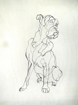 Boxer   Ink on wooden panel