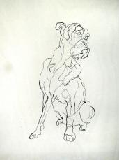 Boxer | Ink on wooden panel