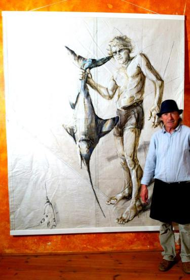 Jose Luis, painting Fisherman and Tool, La Palmera