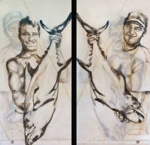 Fisherman Double sided 01 | Acrylic on sailcloth | 90x187 cm