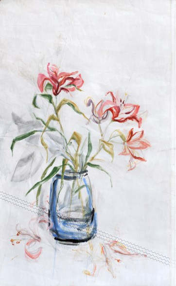 Flowers Lily   painting on Sail