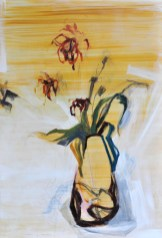 Flowers in Vase (Hare)  Acrylic on wooden panel   90x120 cm