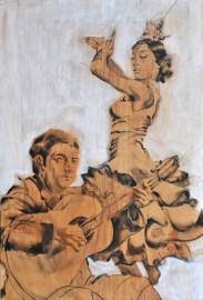 Flamenco Manolo Caracol & Maria Albaicin  Acrylic on wooden Spanish cupboard panel   120x180 cm