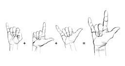Sign Language   I love you   ik hou van jou   te quiero   digital drawing   prints available in all sizes