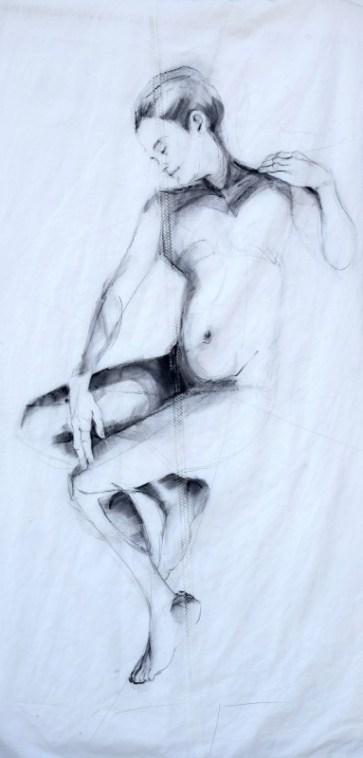 Woman Model Sail 01 | Acrylic/charcoal on sailcloth | 90x200 cm | Gallery Guangzhou CN