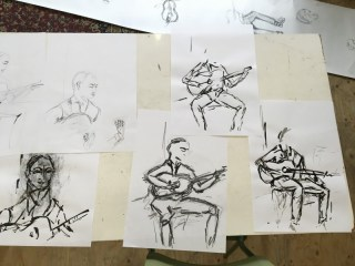 Flamenco music and drawing