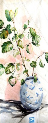 Paper Plane Vase, pink , green leaves|acrylic on sailcloth| 90x +-200 cm
