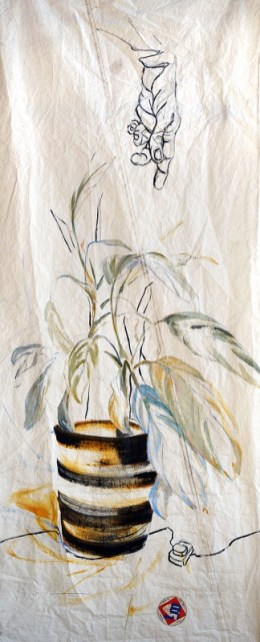 Pot Plant Hand|acrylic, pencil, on sailcloth| 90x +-200 cm
