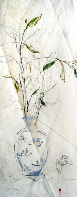 Vase with paper planes and remote control |acrylic, pencil, on sailcloth| 90x +-200 cm