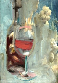 Wine glass and bottle Red | acrylic on canvas linnen | 20x30 cm | Kunstuitleen Alkmaar
