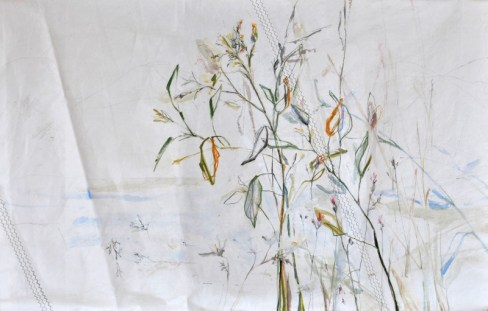 SOLD | Roadside Flowers |Acrylic on sailcloth | 125x200 cm | Steel frame top&bottom