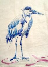 Gallery Culture of Yinbao Guangzhou Gallery China   Blue Heron / Blauwe Reiter   Acrylic paint on sail   50x70 cm