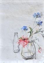 Flowers Sail Bottle  Acrylic on sailcloth   88x137 cm   Steel frame top&bottom