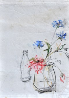 Flowers Sail Bottle |Acrylic on sailcloth | 88x137 cm | Steel frame top&bottom