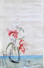 SOLD   Flower Sail Chair  Acrylic on sailcloth   88x137 cm   Steel frame top&bottom