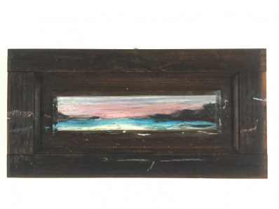 Famara sunset on wooden shutter | 50x25 cm