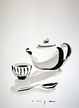 Dutch Art China | Tea pot, cup and spoon |Ink on paper | A3