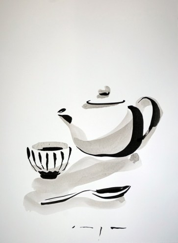 Tea pot, cup and spoon |Ink on paper | A3