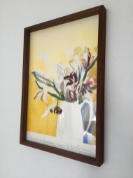 Flowers in white vase, framed