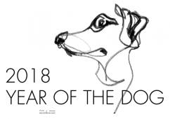 2018 YEAR OF THE DOG calendar   digital drawing   prints available