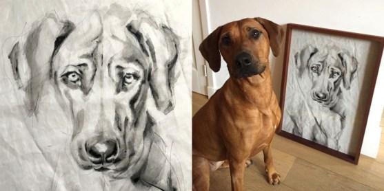 Portrait of Dog Kees   acrylic on sail   50x70cm   portrait to commission