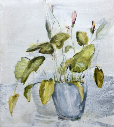 Plant in pot on sail | acrylic on sailcloth | 80x90 cm