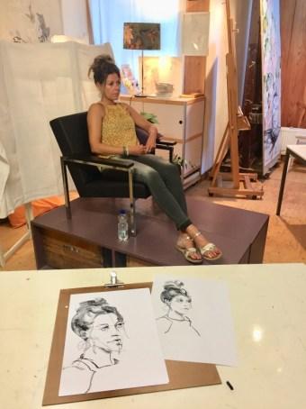 portrettekenen | model tekenen Schoorl, model Chantal juli 2018