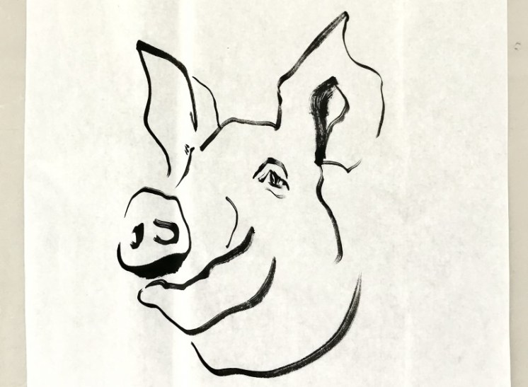 2019 Year of the Pig   ink on paper