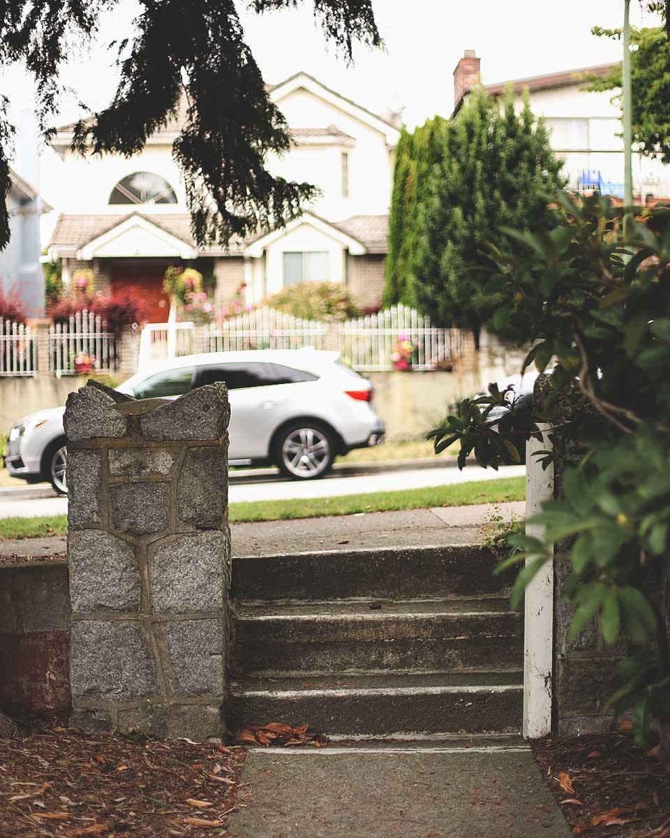 Joy Kogawa House - Sidewalk entrance, three steps