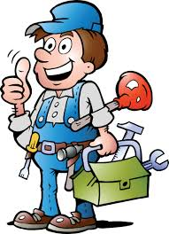 drawing of working holding toolbox, plunger and tool belt.