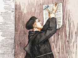 Drawing of Martin Luther nailing 95 theses on door