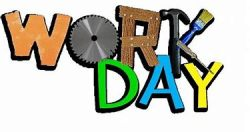 """Word """"Work Day"""" made of a circular saw blade for the """"O"""", the """"R"""" is made of wood, and the """"K"""" is made from a hammer, paint brush, and a screwdriver."""