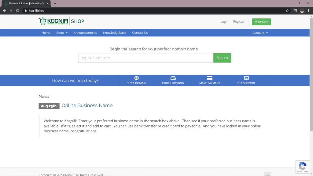Portal penyemak domain Kognifi Malaysia