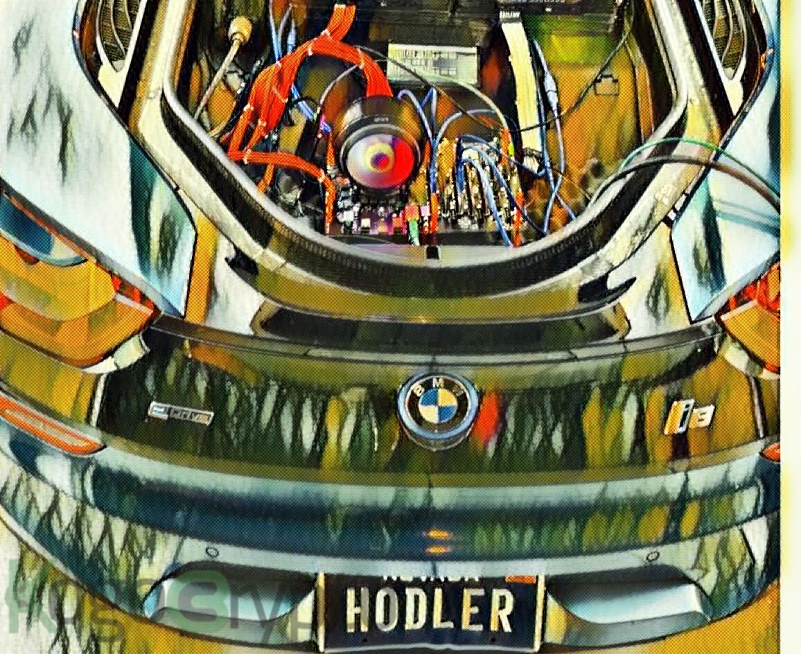 Crypto trader's smart mining approach inside a BMW trunk