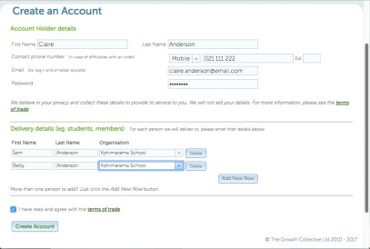 On the 'Create an Account' page, add your children's names.