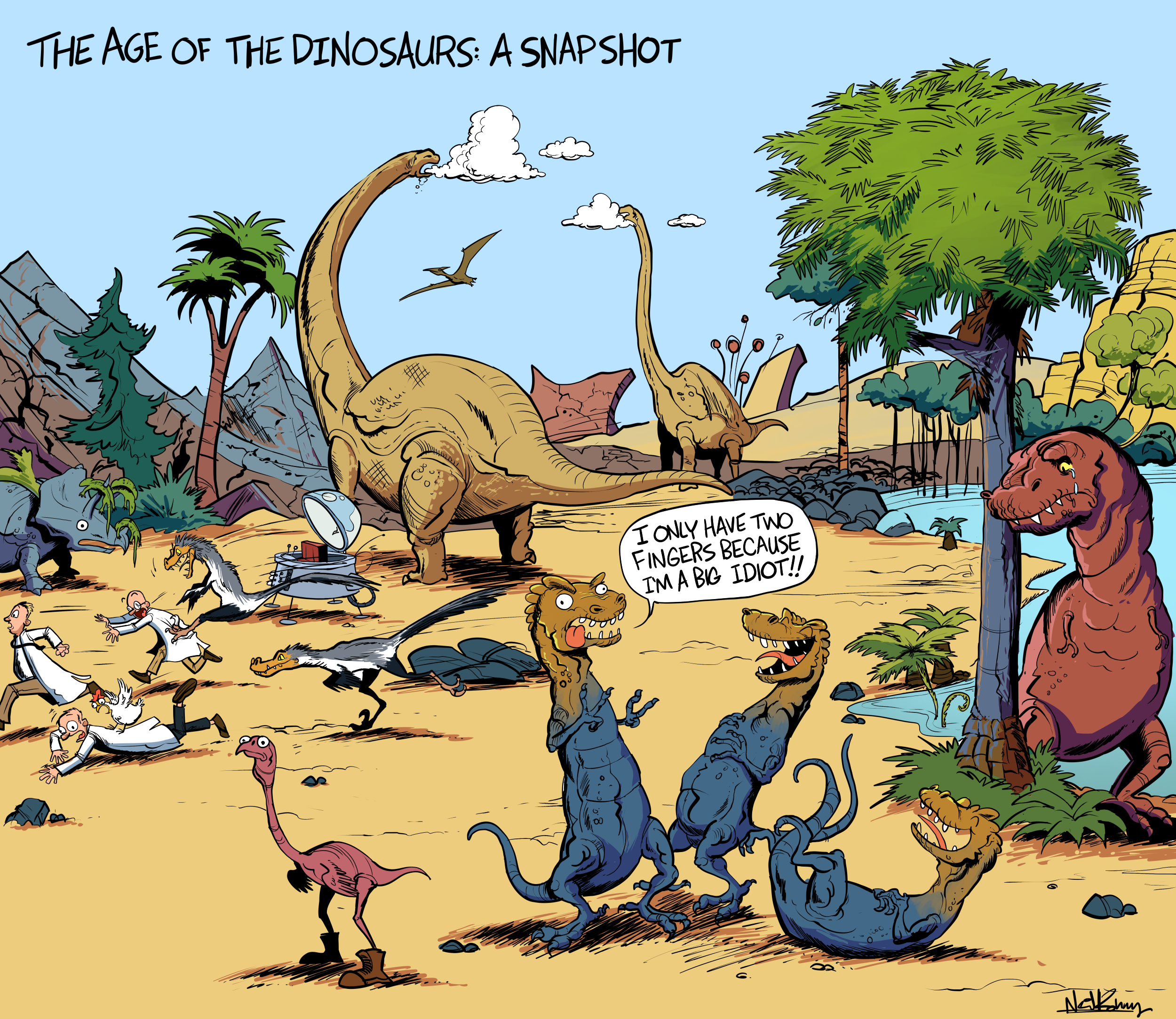Some of these unspecified dinosaurs may or may not have lived in the same era or geographic region. This comic is so fake.
