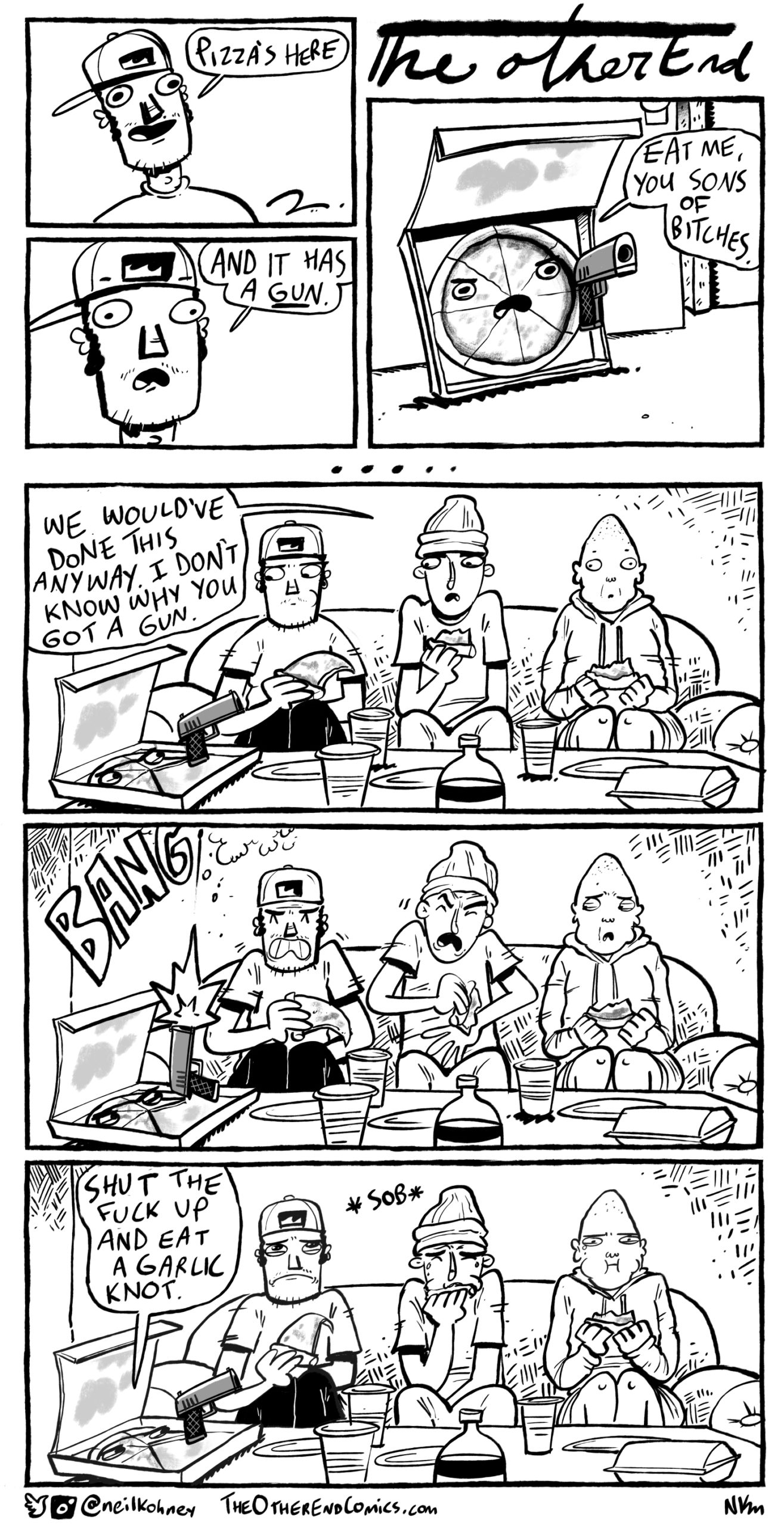 It's pizza night with the bros and they just order cheese and some knots? This comic is so fake