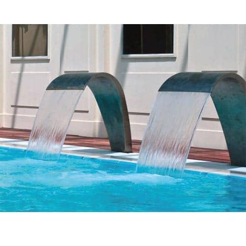 WASSERORNAMENT Wasserfälle aus elektrolytisch polierten Edelstahl-V2A.