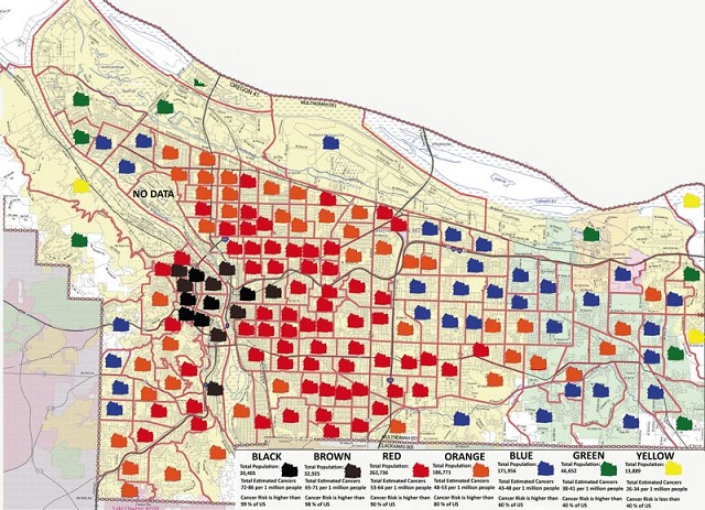 This map made by Paul Koberstein for the Portland Tribune shows dangerous levels of carcinogenic heavy metals and chemical compounds contaminat_277552