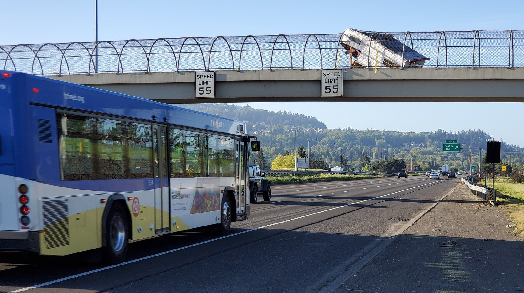 A camper was abandoned on a pedestrian overpass. (Portland Police)