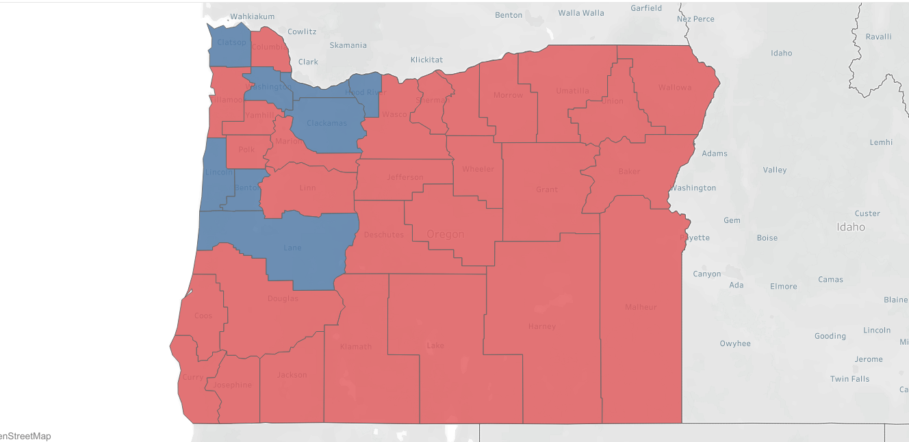 Maps How Oregon Counties Voted In 1988 2016 Presidential Elections Koin Com