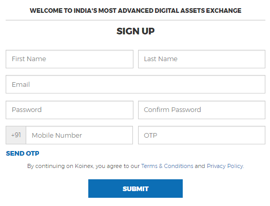 koinex signup page