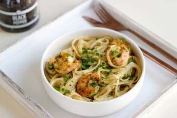 Pasta met scampi in lookroom