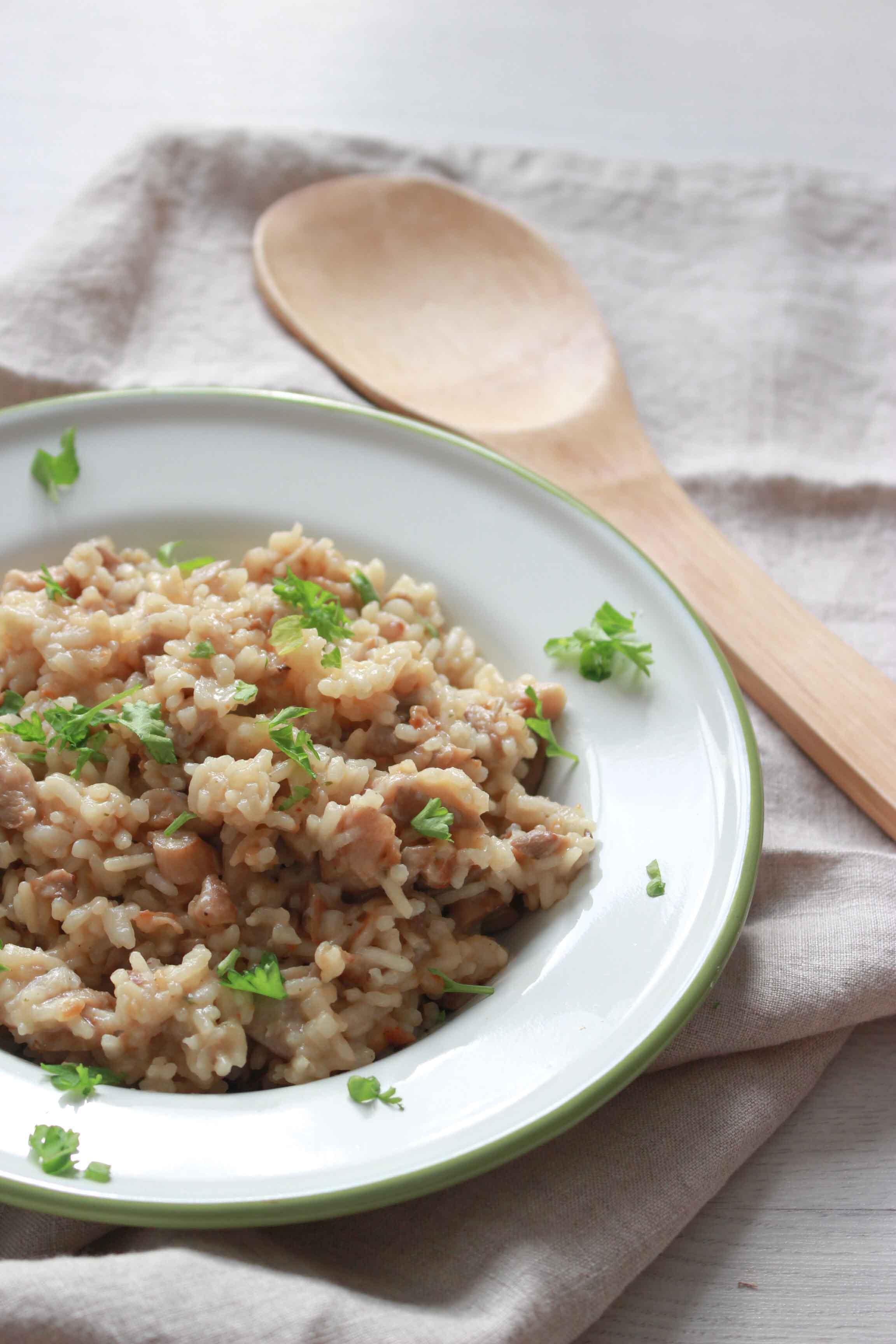 creamy rijst met parmezaan en champignons-6