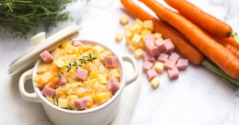 Wortelpuree met prei, ham & oude kaas