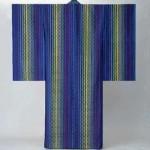 2003 絹紫地経浮花倉織着物