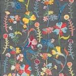 2003 花の列(部分)  帯地  絹