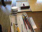 描画材料、インク、ローラー、インク練りバット