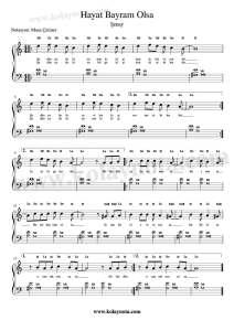 Hayat Bayram Olsa Piyano Notaları